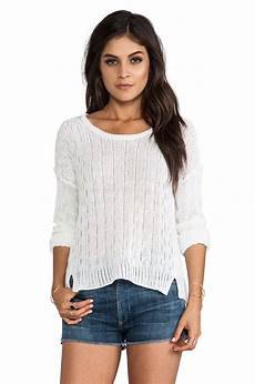 c c california sleeve cropped sweater in white lyst