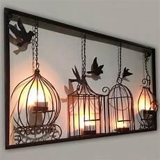 tealight wall art birdcage tea light wall art metal wall hanging candle holder black 3d bird cage ebay
