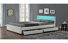 lit design lit design en simili cuir blanc 160 cm avec bande led et 4
