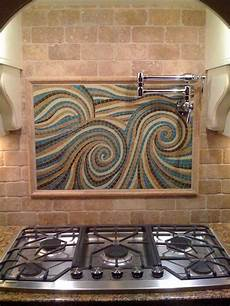 Backsplash Centerpiece by Glass Tile Custom Mosaic Centerpiece Installed In A