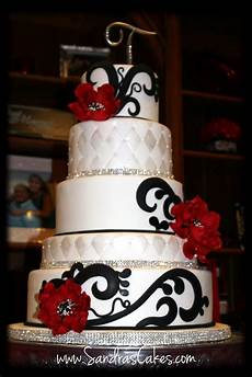 red black and white wedding cake