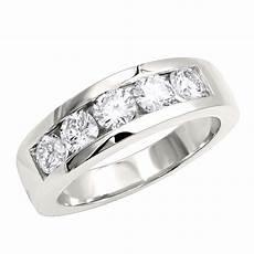 platinum diamond mens wedding ring 2ct 5 stone