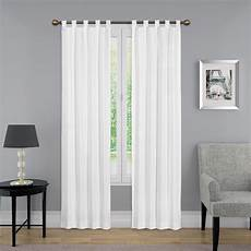 84 in l light filtering white poly cotton tab top curtain