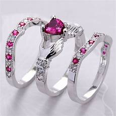 3pcs 925 silver ruby celtic irish claddagh ring