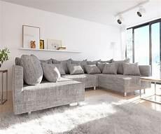 Couch Clovis Hellgrau Strukturstoff Mit Hocker