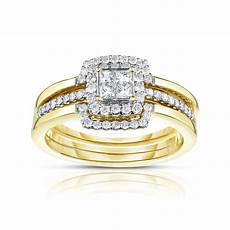 tradition diamond 10k yellow gold 1 2 cttw certified diamond 3 piece bridal ring size 7 only