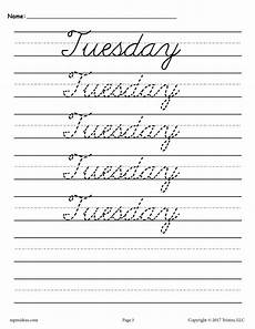7 free cursive handwriting worksheets days of the week supplyme