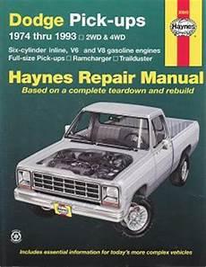 automotive service manuals 1993 dodge ram 50 electronic throttle control 1974 1993 dodge full size pick up trailduster haynes repair manual