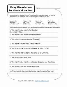 using abbreviations for months of the year worksheet for 2nd 3rd grade lesson planet