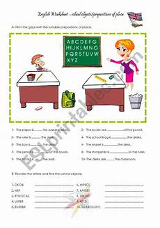school objects and prepositions of place esl worksheet by carlalopes