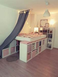 A Loft Bed From Ikea Kallax Shelves In 2020 Regal