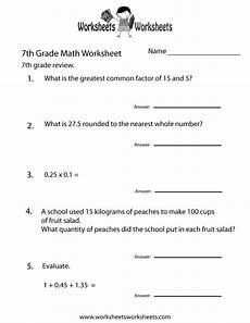 7th grade math review worksheet free printable educational worksheet