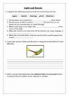 english worksheets sound and light