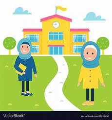 muslim going to school royalty free vector image
