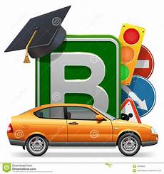test auto ecole vector driving school concept with car stock vector