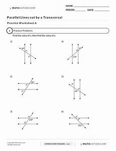 parallel lines cut by a transversal mathcation