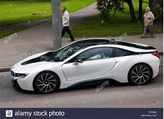 the 2015 bmw i8 plug in hybrid sports car in white