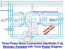 three phase motor connection star delta y δ forward with timer power control