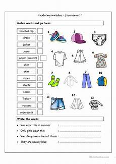 worksheets for elementary students 18860 vocabulary matching worksheet elementary 2 7 clothes esl worksheets for distance