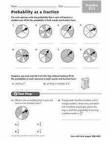 probability worksheets spinners 5883 probability as a fraction practice 23 2 worksheet for 4th 5th grade lesson planet