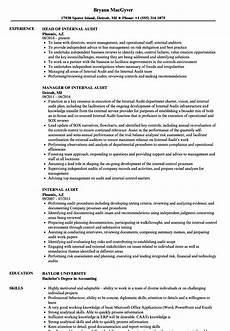 head of internal audit cv june 2020