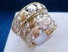 10k solid tri color gold his 3 piece wedding engagement band ring ebay