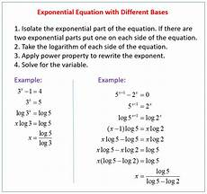 solving exponential equations with different bases exles solutions videos worksheets
