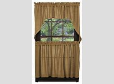 "Burlap Natural Tan Tier Curtains 36""L   Country Farmhouse"