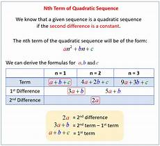 quadratic and cubic sequences solutions exles videos worksheets games activities