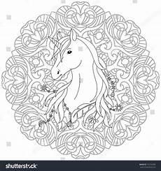 unicorn black white coloring page mandala stock vector