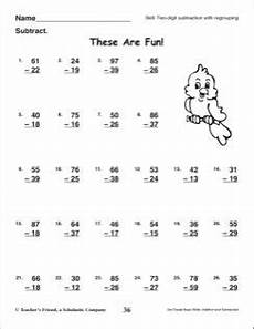 these are fun two digit subtraction with regrouping 2nd grade subtraction skills math math