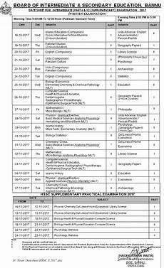 bisep date sheet hssc bise bannu board date sheet 2018 2019 inter part 1 2 hssc fa fsc intermediate 11th 12th