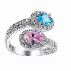 silver color blue and pink ring jewelry wedding rings size