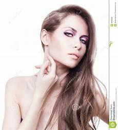 Frau Mit Dem Langen Haar Und Der Auf Hals