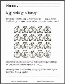 money equations worksheets 2143 bags of money writing an equation worksheet free to print pdf file kindergarten money