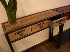 fabriquer une console en bois console tiroirs m 233 tal bois flott 233 mobilier design