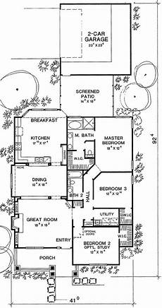 house plans for long narrow lots plan 3043d narrow footprint house plans one story