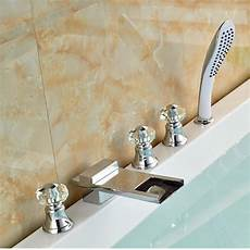 Deck Mount Brass Waterfall Bathtub Mixer Taps 5pcs