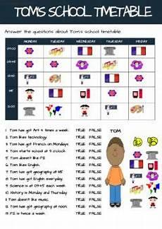 my school timetable interactive worksheet