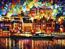 STOCKHOLM — PALETTE KNIFE Oil Painting On Canvas  Art In