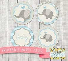 blue elephant baby shower printable circle tags pdf
