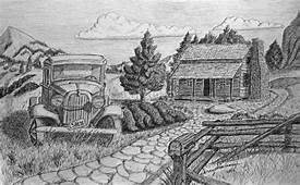Pictures Drawings Of Old Cabins  Art Gallery