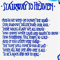 stairway to heaven lyrics lyrics of stairway to heaven is written with this font help