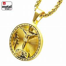 14k gold tone stainless steel 3d medallion jesus pendant 24 quot box chain scp 165 g 643415249666 ebay