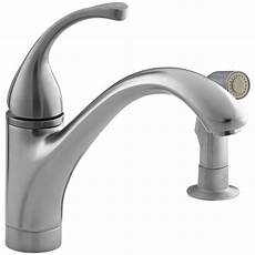 kitchen faucet kohler kohler forte single handle standard kitchen faucet with side sprayer in brushed chrome k 10416 g