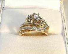 used wedding rings reduced 14k 2 toned gold 0 33ct 6 dia engagement