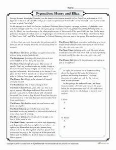 pygmalion henry and eliza drama worksheet reading