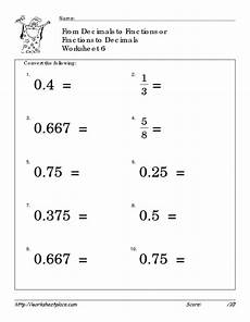 worksheet decimal to fraction 7306 convert fractions and decimals 6 worksheet for 4th 6th grade lesson planet