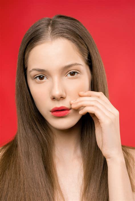 Blonde Hair Red Lipstick