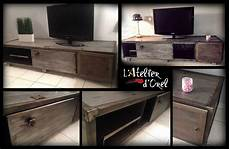 meuble tv atelier meuble industriel industrial tv stand recycled ideas recyclart
